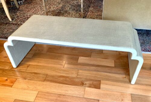 Waterfall Coffee Table or Bench Glazed Fabric Karl Springer Style