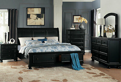 NEW Transitional Black Bedroom Furniture - 5pcs Queen Sleigh Storage Bed Set A52