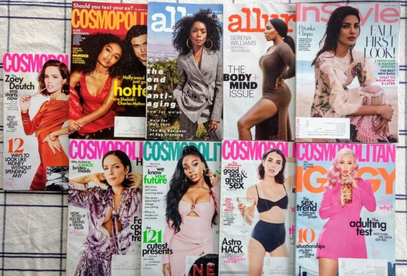 Lot Of 9 Magazines Allure, Cosmopolitan, InStyle. Issues from 2016-2020