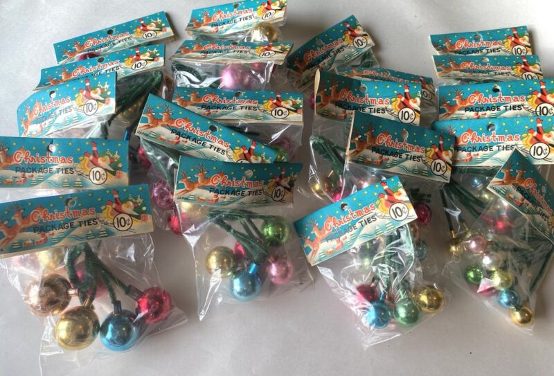 Lot of 20 Vtg Christmas Ornaments Glass Balls Package Ties Gift JAPAN NOS Crafts