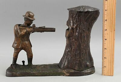 Antique J&E Stevens Teddy Roosevelt Teddy & the Bear Cast Iron Mechanical Bank