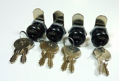 4pk 58 Double Bitted Black Cam Lock Keyed Alike 2 Keys Each Cabinets Drawers