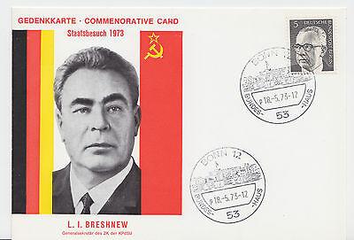 """Farbige Gedenkkarte zum Staatsbesuch von """"L. I. BRESHNEW"""" UDSSR 1973 !!!"""