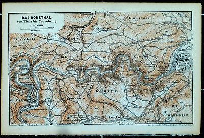 Das BODETHAL, Thale - Treseburg, alte farbige Landkarte, datiert 1896