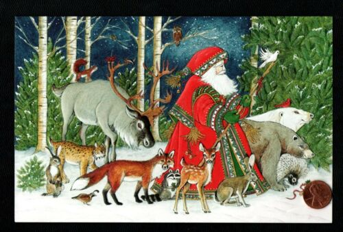 Christmas Santa Fox Raccoon Rabbit Porcupine Bobcat Moose Deer - Greeting Card