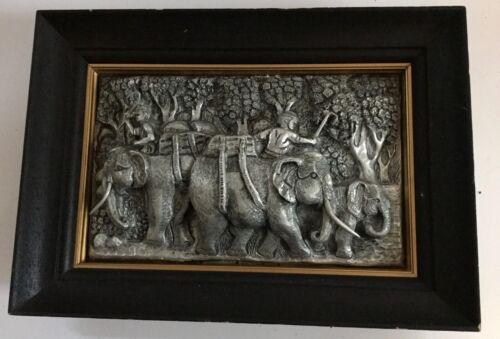 Elephants Elephant Aluminum Repousse Panel Plaque Wood Frame