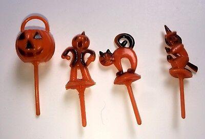 Kuchen Dekoration Halloween (Vintage Halloween Kuchendekoration Set 4 Kürbis Hexe Katze Vogelscheuche)