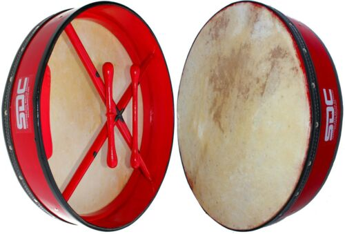 "RED BODHRAN DRUM Irish Celtic 18"" with Bag"