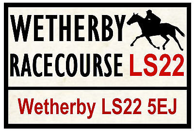 HORSE RACING ROAD SIGNS (WETHERBY) - FUN SOUVENIR NOVELTY FRIDGE MAGNET GIFT