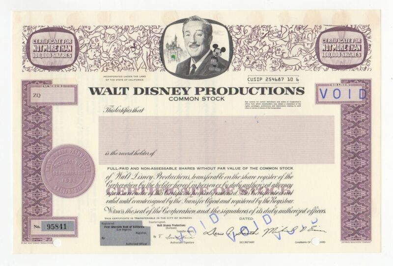 Walt Disney Productions Stock Certificates w/Mickey Mouse in vignette