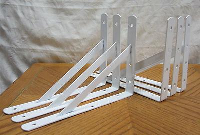 """6 Heavy Duty White Steel 12"""" x 8"""" Shelf Brackets! 500 Lb Metal Lot L Countertop"""