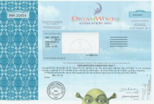 DREAMWORKS ANIMATION ISSUED STOCK CERTIFICATE UNIVERSAL PICTURES SHREK