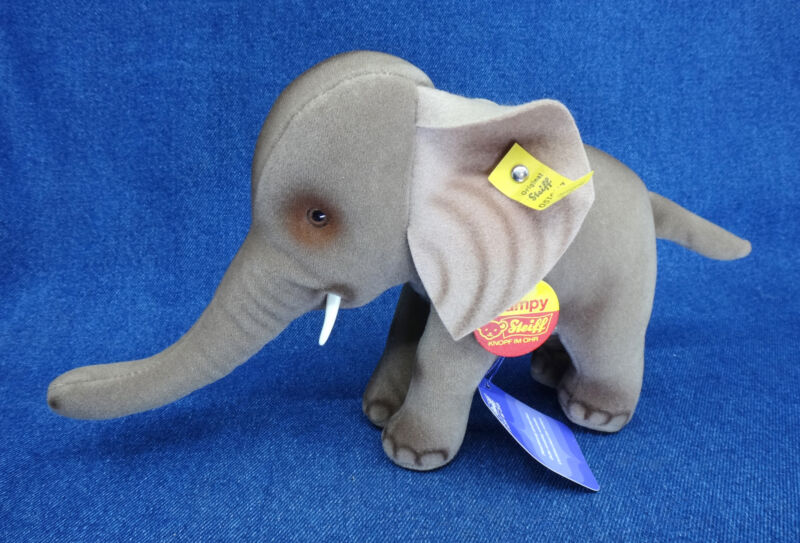 rare STEIFF TRAMPY ELEPHANT plush toy GERMANY only made 1975 - 78 ALL TAGS
