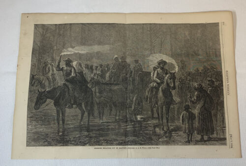 1864 magazine engraving ~ AFRICAN AMERICANS ESCAPING OUT OF SLAVERY
