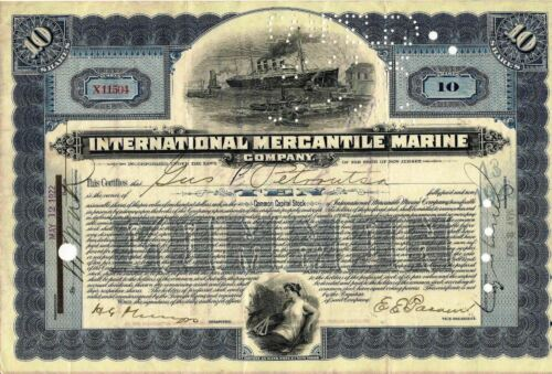 International Mercantile Marine stock certificate blue signed JMorgan by clerk 9