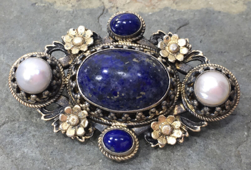 Antique Austro Hungarian Small Brooch Pin Lapis & Pearls Vermeil Silver