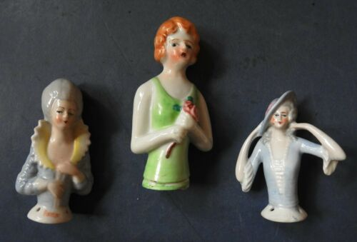 THREE PORCELAIN PIN CUSHION HALF DOLLS - 1920