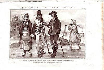 Kroatien Mähren Hermannstadt Trachten Kostüme Orig Stahlstich 1850 - Stahl Kostüme