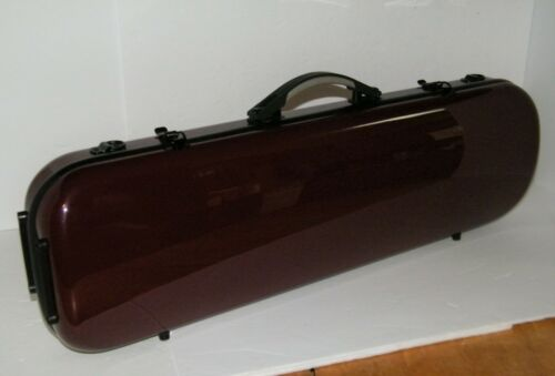 The String Centre Fiberglass Oblong Violin Case 4/4 Maroon - Repaired Handle