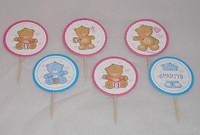 Muffinpicker Toppers Cupcake Muffin deko Bär Teddy Baby Party Geburtstag Kuchen ()