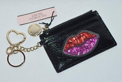 Victorias Secret Sequin Lips Credit Card Case Keychain Wallet Coin Purse Pouch