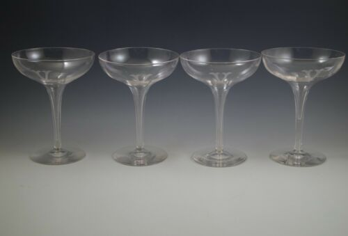 "ANTIQUE  STEUBEN CRYSTAL SET OF 4 HOLLOW STEM CHAMPAGNE GLASSES, MONOGRAM ""V"""