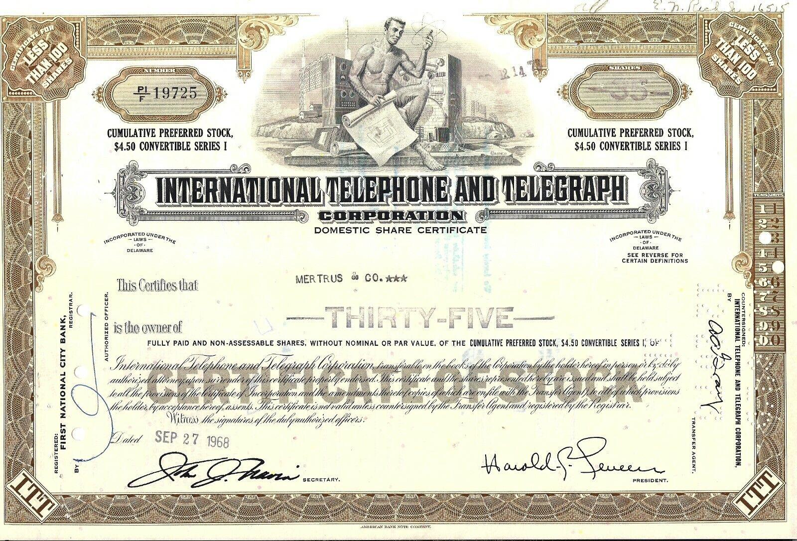 Stock Certificate International Telephone Telegraph Corp. 1966-1972 - $2.00