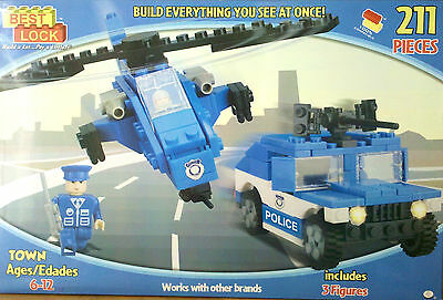 BEST LOCK Building BLOCKS TOWN POLICE Truck Helicopter Figure KIDS TOYS Child