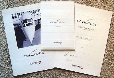 BRITISH AIRWAYS ~ CONCORDE ~ STATIONARY ~ INFO BOOK ~ CERTIFICATE