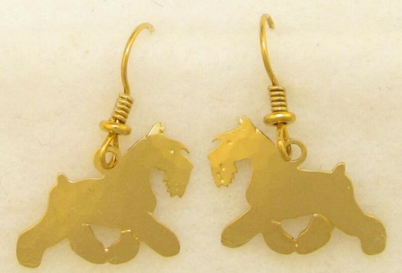Schnauzer Jewelry  Gold  Dangle Earrings  by Touchstone
