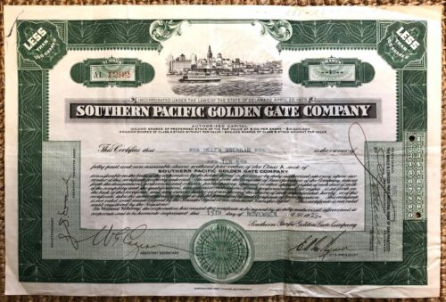 Vintage 1929 Southern Pacific Golden Gate Company Stock Certificate, Ferries