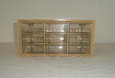 Vintage Storage Drawers Akro-mills A-m Plastic Swirl Cabinet 9 Small Parts