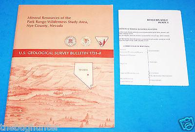 1987 Usgs Bull  1731F   Mineral Resources   Park Range Wild   Nye County  Nevada