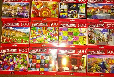 Lot of 10 New 500 Piece Jigsaw Puzzles Puzzlebug Factory Sealed Vivid Colors