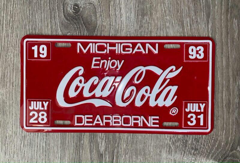 "Vintage 1993 "" DEARBORNE"" Michigan Coca Cola License Plate"