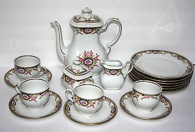 MITTERTEICH BAVARIA COFFEE SET 17 pcs COFFEE POT CUPS SAUCERS PLATES ROSE CAMEO