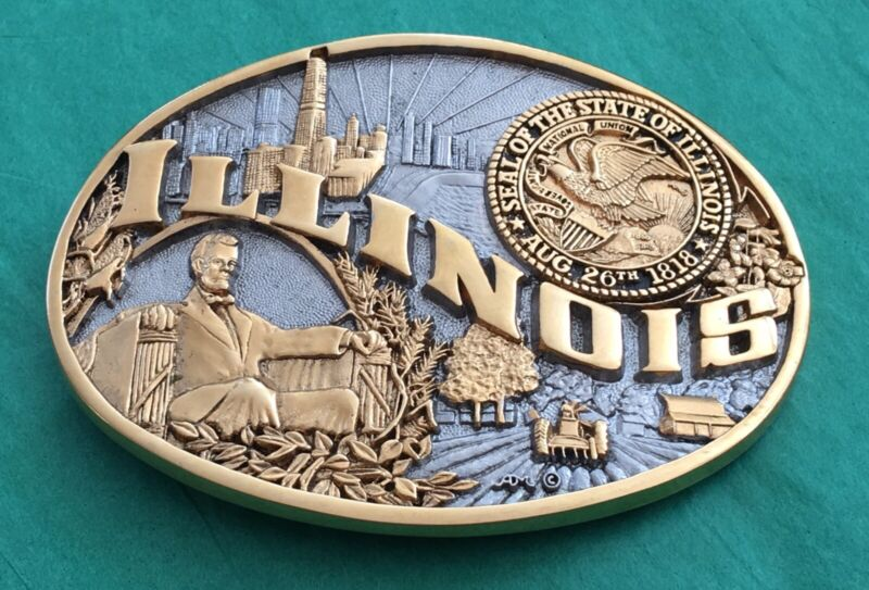 VTG Rare NOS 24k Gold Plated *ILLINOIS* State Lincoln ADM First Edt. BELT BUCKLE