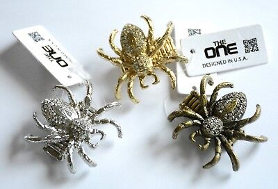 Halloween Spider Ring (Halloween Spider Shaped Ring w Crystals on Stretch Link Band / Choose)