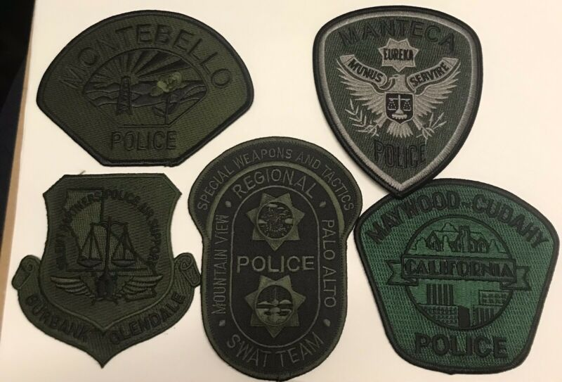 Lot of 5 California Subdued Police Patches - SWAT SERT ERT