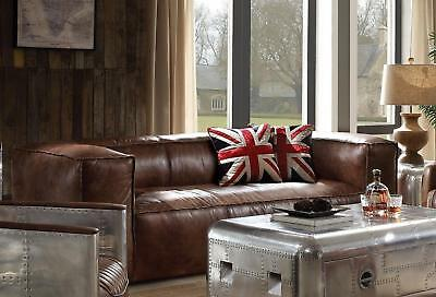 Sofa Brown Top Grain Leather Finish Furniture Shelter Arm 1pc Sofa Living Room ()