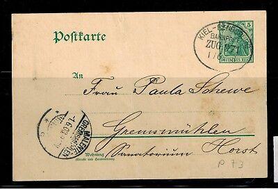 Deutsches Reich Postkarte P 73 Bahnpost Zug 971 nach Gremesmühlen -int.Nr.120