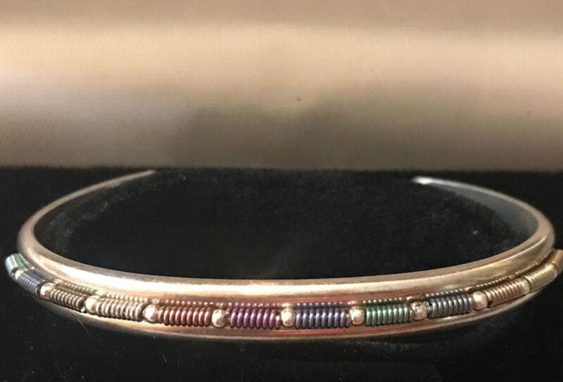 Artisan Handcrafted Sterling Silver Cuff Bracelet Art Fair Beaded Coils Design