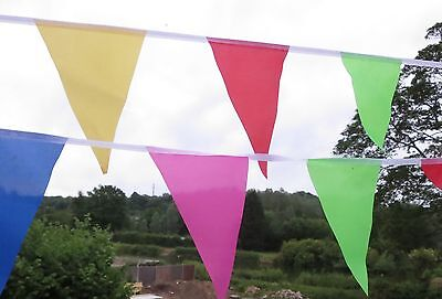 Party bunting large bright multi-coloured triangular fabric 18ft / 5.5m 20 Flags