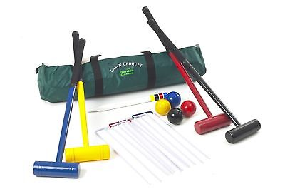 Lawn Croquet Set - 4 Player Set with 77 Centimetre Long Mallets