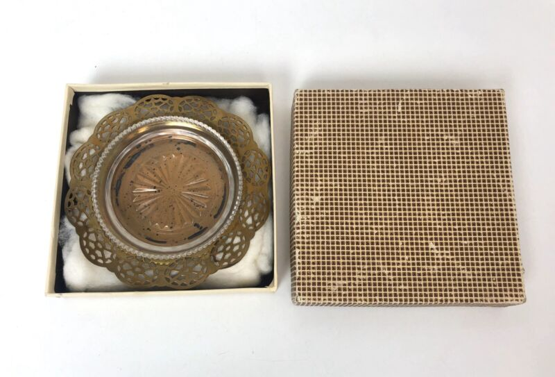 """Wm. A. Rogers 5.5"""" Ashtray Brass And Glass"""