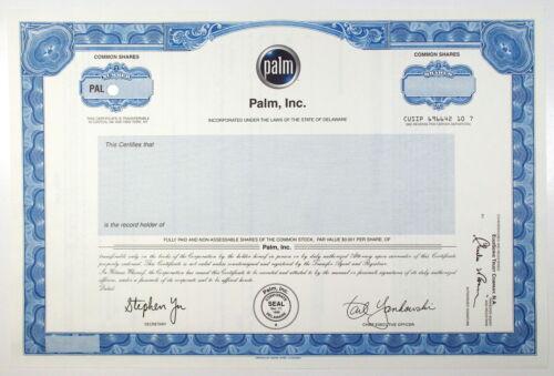 2000s PALM, Inc. Stock Certificate SPECIMEN  Palm Pilot