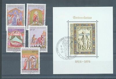 Luxembourg 1974 Welfare Fund and Christmas sg.937-41 & MS942 used