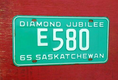 1965 Saskatchewan Nice Mint Original  E 580 DIAMOND JUBILEE  License Plate