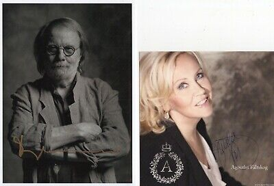 ABBA LOT OF 4 HAND SIGNED PHOTOS      MUSIC LEGENDS    BENNY+BJORN+FRIDA+AGNETHA