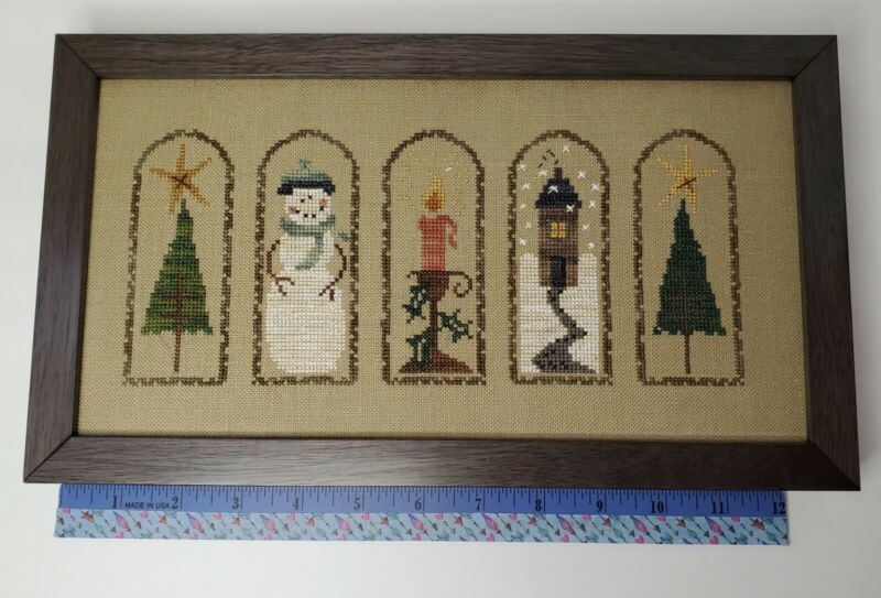 Counted Cross Stitch Christmas/Winter Framed Picture Sampler